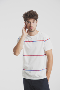 Modisches Streifenshirt für Herren - Double Lines T-Shirt - thinking mu