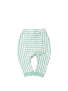 Baby u. Kinder Jogger Hose türkis geringelt Little Green Radicals - Little Green Radicals