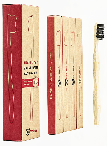 Nachhaltige Bambus Zahnbürsten Im 4er Sparset