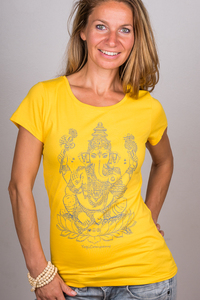 "Yoga T-Shirt ""Ganesha"" gelb - YogiCompany"