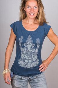 """Damen Yoga T-Shirt aus Bambusviskose & Bio-Baumwolle """"Ganesha"""" blau/weiß  - YogiCompany"""