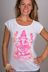 "Yoga T-Shirt ""Ganesha"" weiß / berry-orange - YogiCompany"