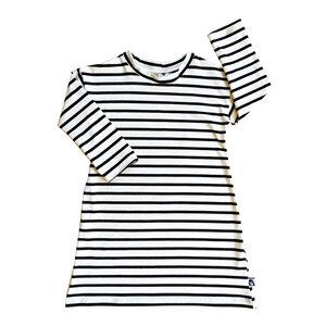 Kinder Nachthemd Bio Baumwolle Streifen breit schwarz weiß - betus