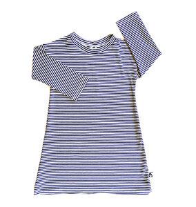 Kinder Nachthemd Bio Baumwolle Streifen schmal navy weiß - betus