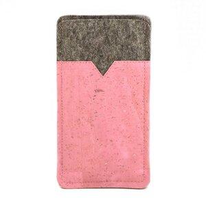 Handytasche aus Wollfilz und rosafarbenem Kork  - Made by 11-lein