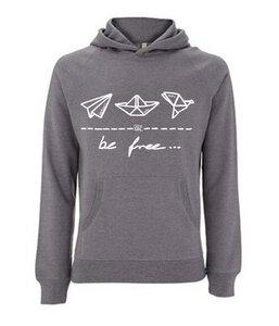 be free – Unisex Pullover Hoodie 'melange grey' - DENK.MAL Clothing