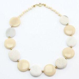 """Halskette """"Schneewittchen"""", naturfarbene Tagua, Kieselsteine - steinfarben"""