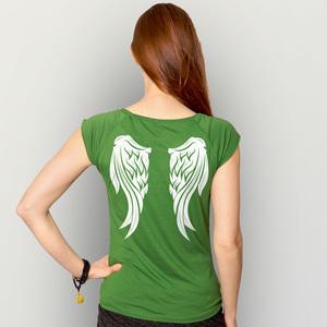 'Engelsflügel' Bamboo Jersey T-Shirt  - shop handgedruckt