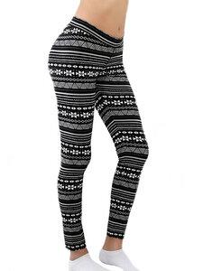 Damen Leggings Bio-Baumwolle Leggingslang schwarz-natur - Albero