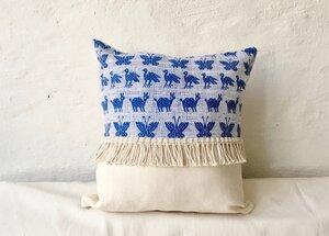 'Terremotas Collection' Handgewebte  blaue Kissenbezug - LaMalve