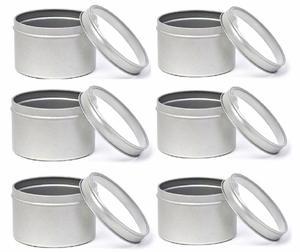 6 Stück Set Silberne runde Kräuterdosen aus Metall mit Klarsichtdeckel - DS