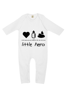 "little hero – Strampler ""white""  - DENK.MAL Clothing"