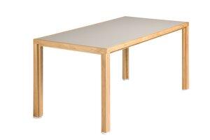 Tisch aus Eichen-Vollholz mit grauer Linoleumplatte - alvari