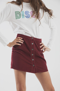 Kurzer Cordrock in Bordeaux - Wine Short Skirt - thinking mu