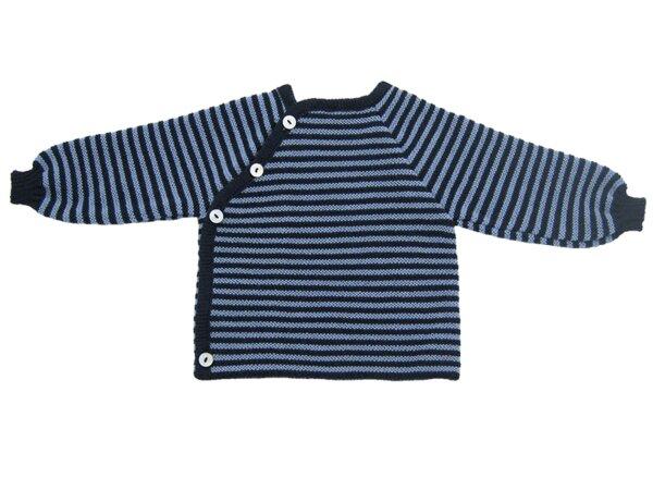 62//68 Bio Reiff Schlüttli Pullover Knopfleiste Wolle marine//hellblau Gr
