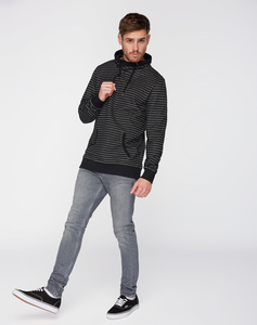 Sweatshirt Schalkragen #STRIPES schwarz grau - recolution