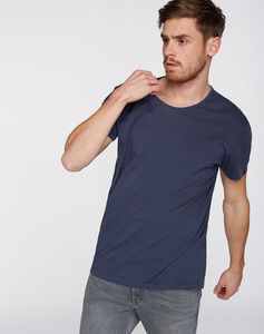 T-Shirt runder V-Neck navy - recolution