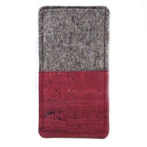 Handytasche aus Wollfilz und dunkelrotem Kork  - Made by 11-lein