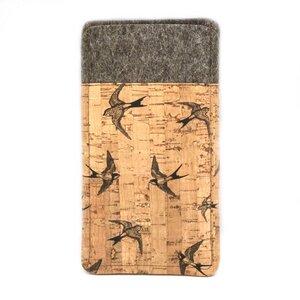 Handytasche aus Wollfilz und bedrucktem Kork mit Vögelchen - 11-lein