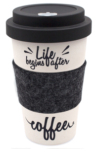 Coffee-to-go Becher aus Bambus mit Filz-Manschette (After Coffee) - heyholi