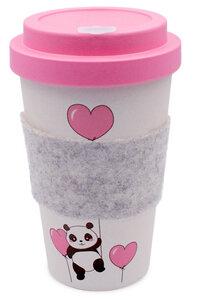 Coffee-to-go Becher aus Bambus mit Filz-Manschette (Panda Love) - heyholi