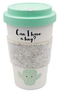 Coffee-to-go Becher aus Bambus mit Filz-Manschette (Hug Me) - heyholi