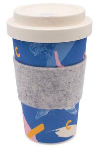 Coffee-to-go Becher aus Bambus mit Filz-Manschette (Deep Sea) - heyholi