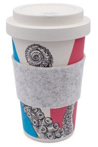Coffee-to-go Becher aus Bambus mit Filz-Manschette (Herr Simon Ster) - heyholi