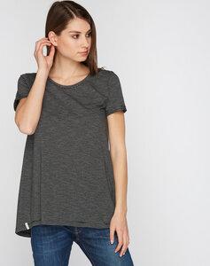 T-Shirt Longshirt schwarz grau gesteift - recolution