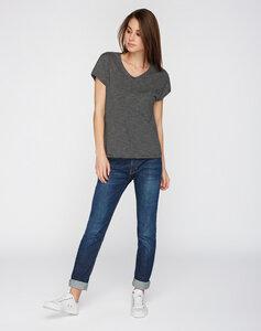 T-Shirt V-Ausschnitt schwarz grau gestreift - recolution