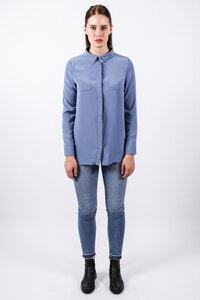 Bluse mit Doppelkragen // Blau - WIEDERBELEBT