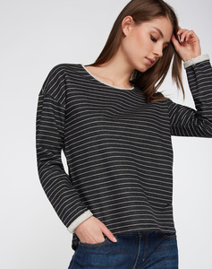 Sweatshirt schwarz grau gestreift - recolution
