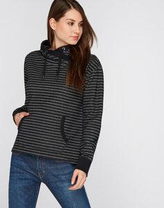 Sweatshirt Overlap schwarz grau gestreift - recolution
