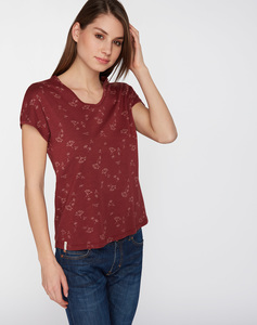 T-Shirt V-Ausschnitt #BLOOM burgundy rot - recolution