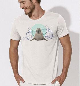 Seehund T-Shirt für Männer in weiß - Picopoc