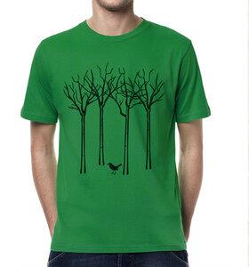 Vogel im Wald T-Shirt für Männer in Grün & Schwarz - Picopoc