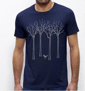 Vogel im Wald T-Shirt für Männer in navy blau / Dunkelblau - Picopoc