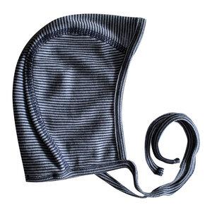 Wolle-Seide Mütze - dunkelblau geringelt - People Wear Organic