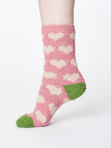 Fluffy Heart Recycled Sock - Pale Pink - Thought | Braintree