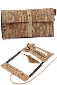 Tabaktasche aus robusten Kork / Korkstoff inkl. Fächern mit Band - Simaru