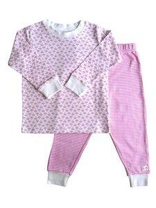Mädchen Schlafanzug weiß rosa Bio Baumwolle - People Wear Organic