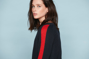 Strickpullover - Damen Sport Sweater - Navy/Red - Les Racines Du Ciel