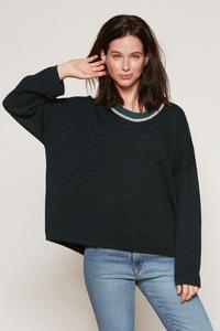 Damen Color Neck Sweater - Green - Les Racines Du Ciel