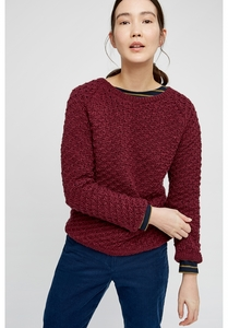 Strickpullover - Danita Textured Jumper - Burgundy - People Tree