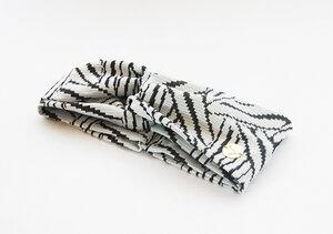 Stirnband im Turbanlook - White ZickZack - dreisechzig