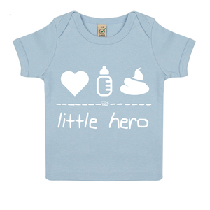 "little hero – Baby Shirt ""soft blue""  - DENK.MAL Clothing"