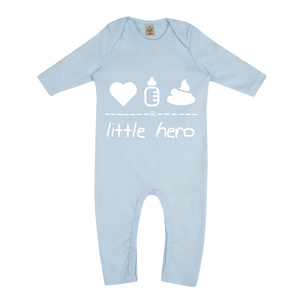 "little hero – Strampler ""soft blue""  - DENK.MAL Clothing"