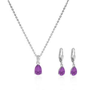 Schmuck-Set Lila-Violett Kristall-Ohrringe und Halskette-Silberschmuck - JuliaPilot
