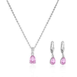 Schmuck-Set Rosa Kristall-Ohrringe und Halskette - echt Silberschmuck - JuliaPilot