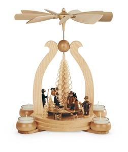 Bogenpyramide Waldmotiv  für 4 Teelichter - Müller Seiffen